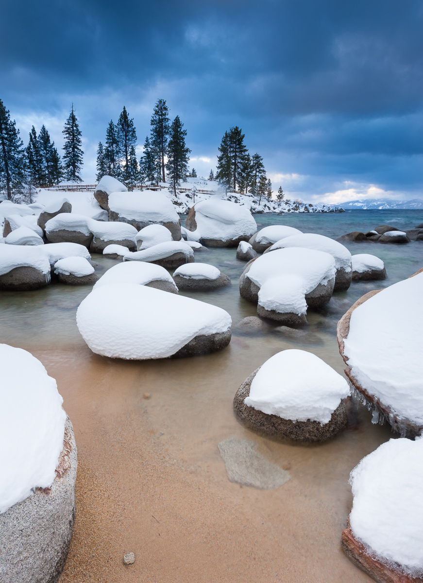 Fresh Snow Covering Boulders at Sand Harbor