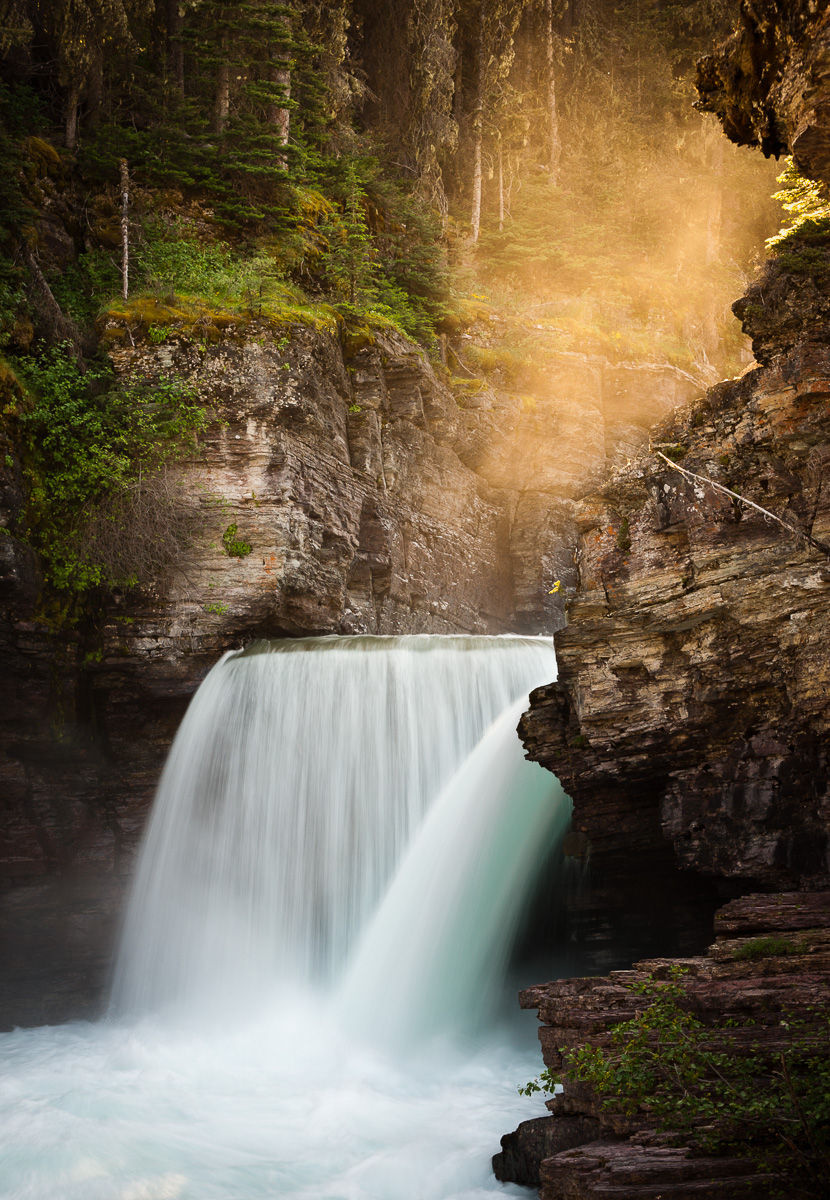 Glowing Mist over Saint Mary Falls, Glacier National Park, Montana
